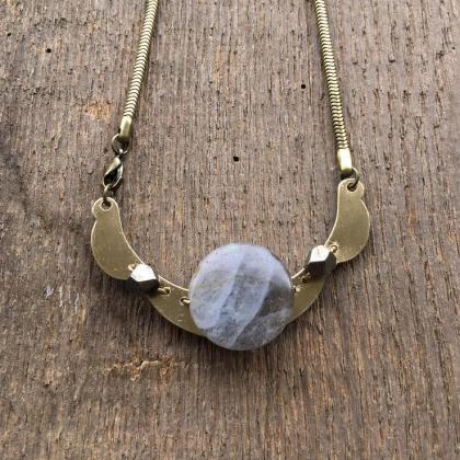 LABRADORITE & BRASS STATEMENT NECKL..