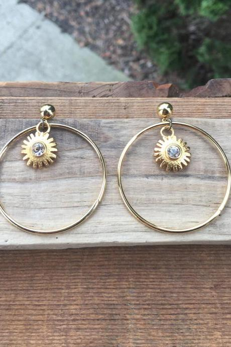 GOLDEN SUNSHINE HOOPS EARRINGS