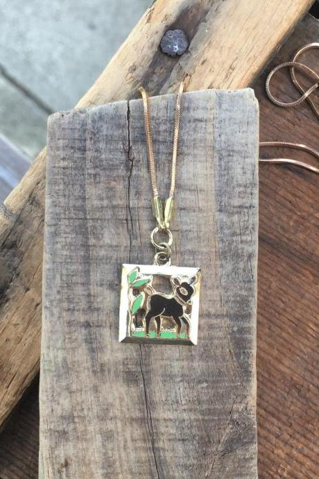ENAMELED DEER NECKLACE