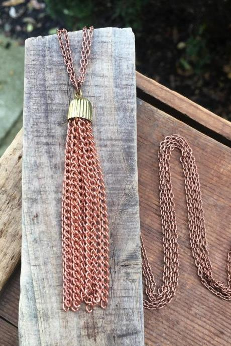 COPPER TASSEL NECKLACE