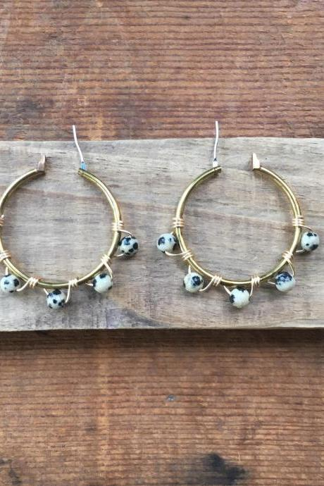 DALMATIAN JASPER HOOPS EARRINGS