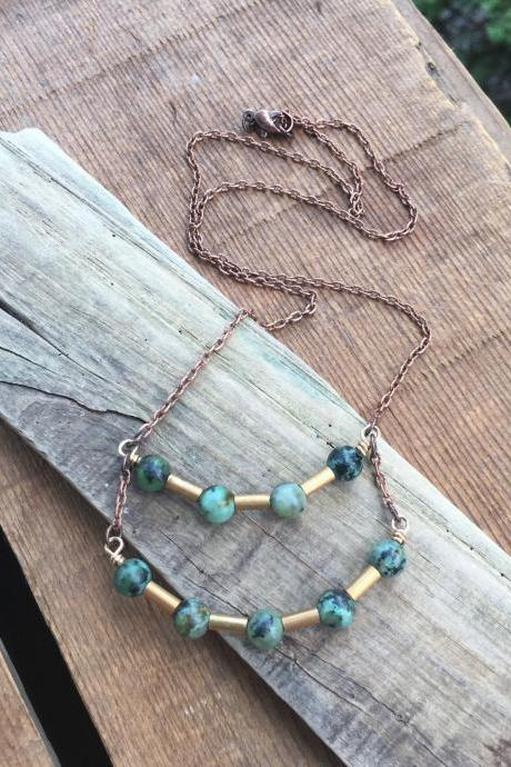 TURQUOISE & TUBES NECKLACE