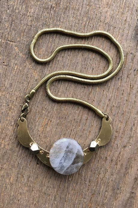LABRADORITE & BRASS STATEMENT NECKLACE