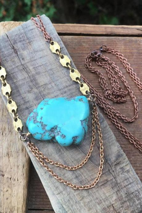TURQUOISE & HEXAGON STATEMENT NECKLACE