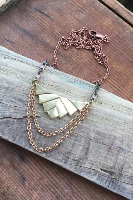 BRASS CHEVRON STATEMENT NECKLACE